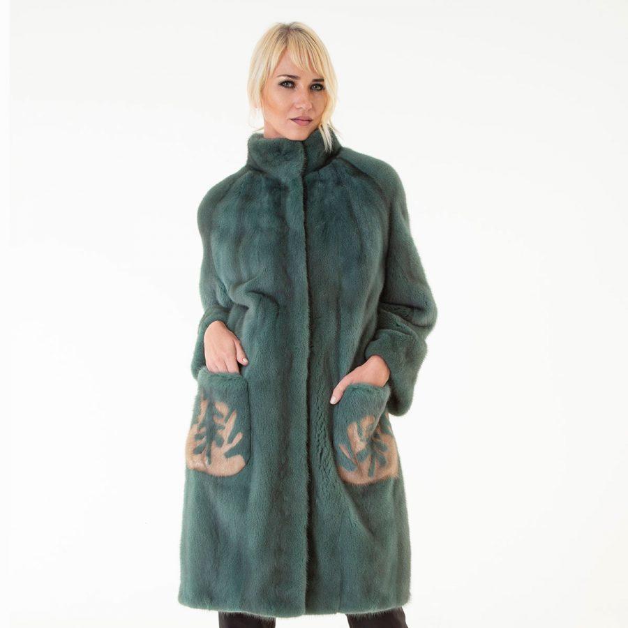 Green Mink Fur Jacket - pockets with terra drawing | Sarigianni Furs