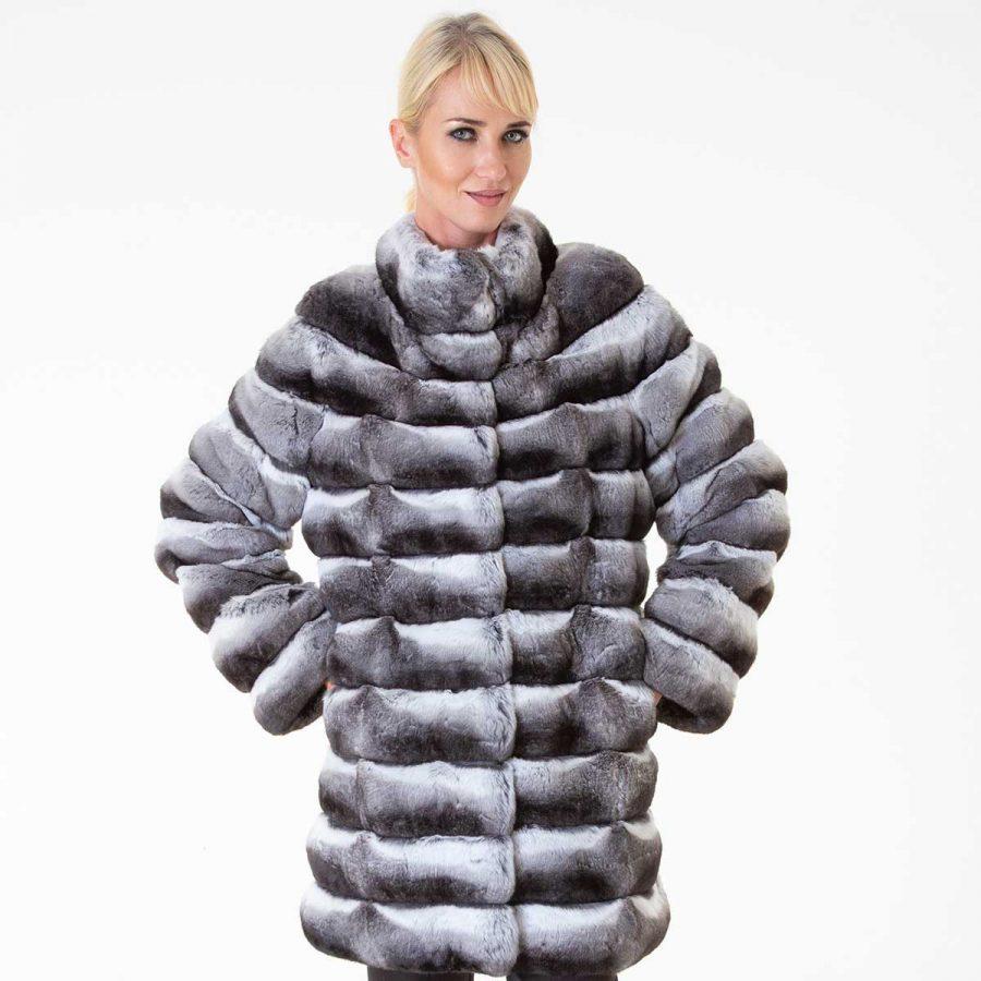 Chinchilla Skin Long Sleeve Jacket | Пальто из меха шиншиллы с длинным рукавом - Sarigianni Furs