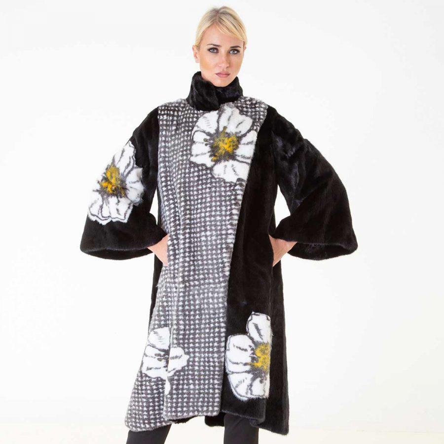 Blackglama Mink Coat with flower print   Sarigianni Furs