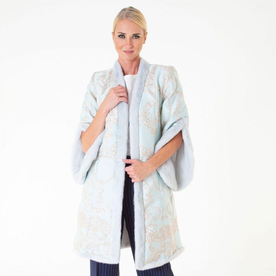 Verde Acqua Female Mink and Fabric Coat | Sarigianni Furs