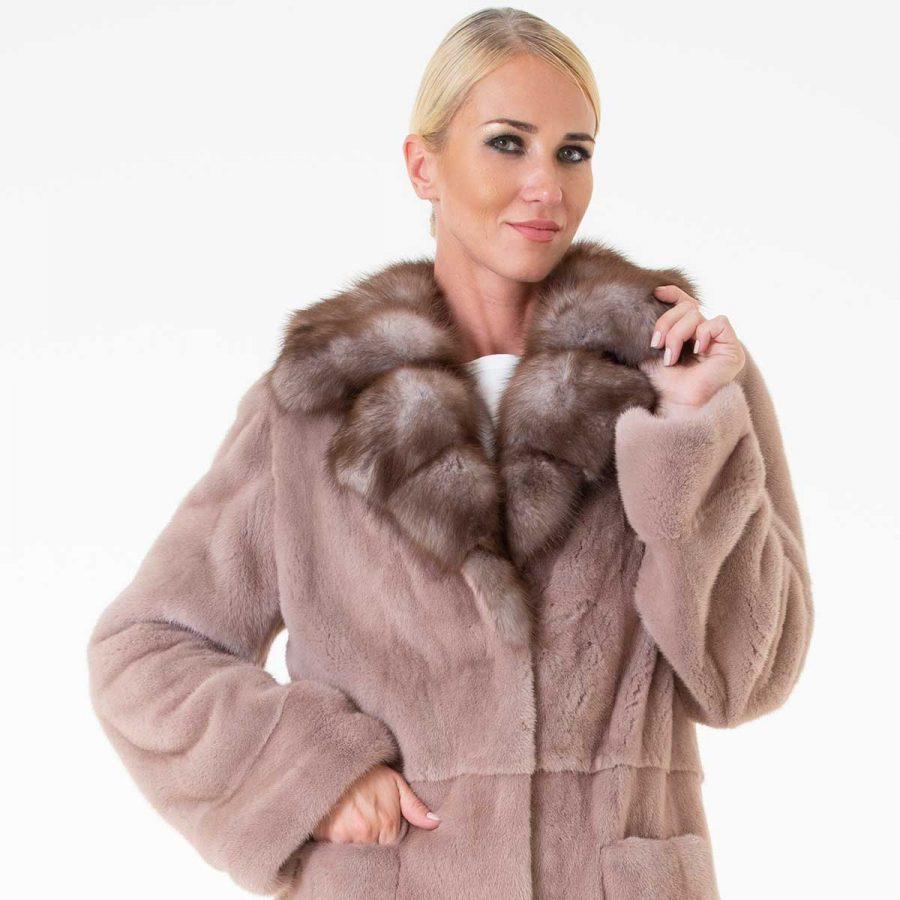 Izabella Antique Rose Female Mink Coat | Sarigianni Furs