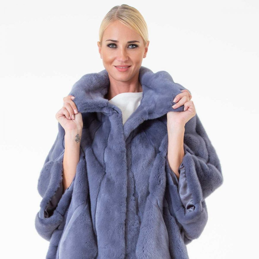 Grey Male Mink Nafa Cape with Hood | Sarigianni Furs