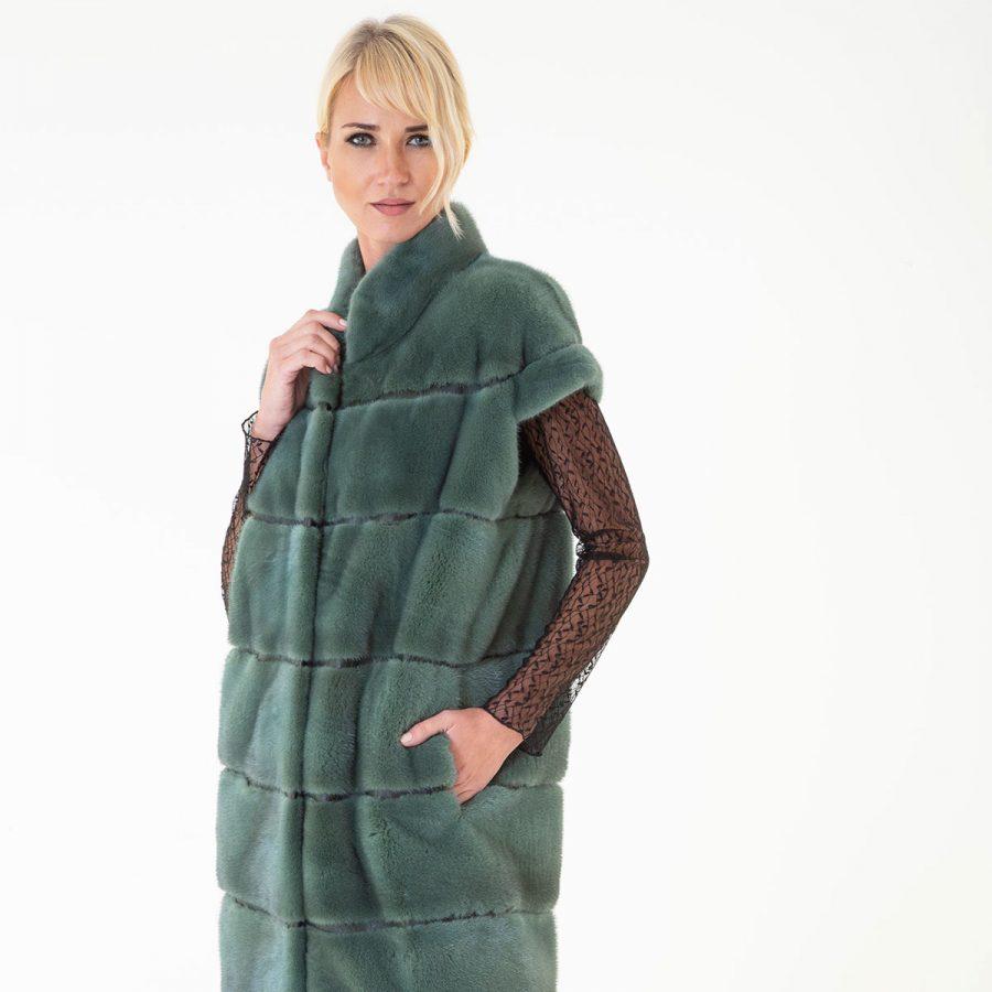 Green Male Mink Kopenhagen Vest | Жилет из меха норки с воротником стойкой - Sarigianni Furs