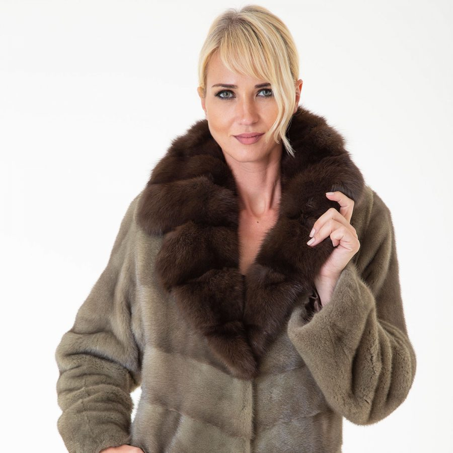 Auro - Male Mink Kopenhagen Coat | Ауро - Шуба из норки с английским воротником - Sarigianni Furs