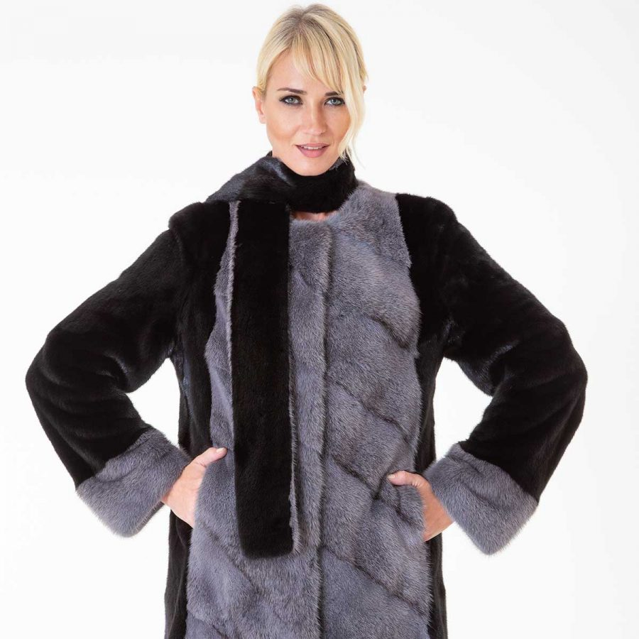 Blackglama Male Mink Jacket | Пальто из меха норки Blackglama с шарфом - Sarigianni Furs