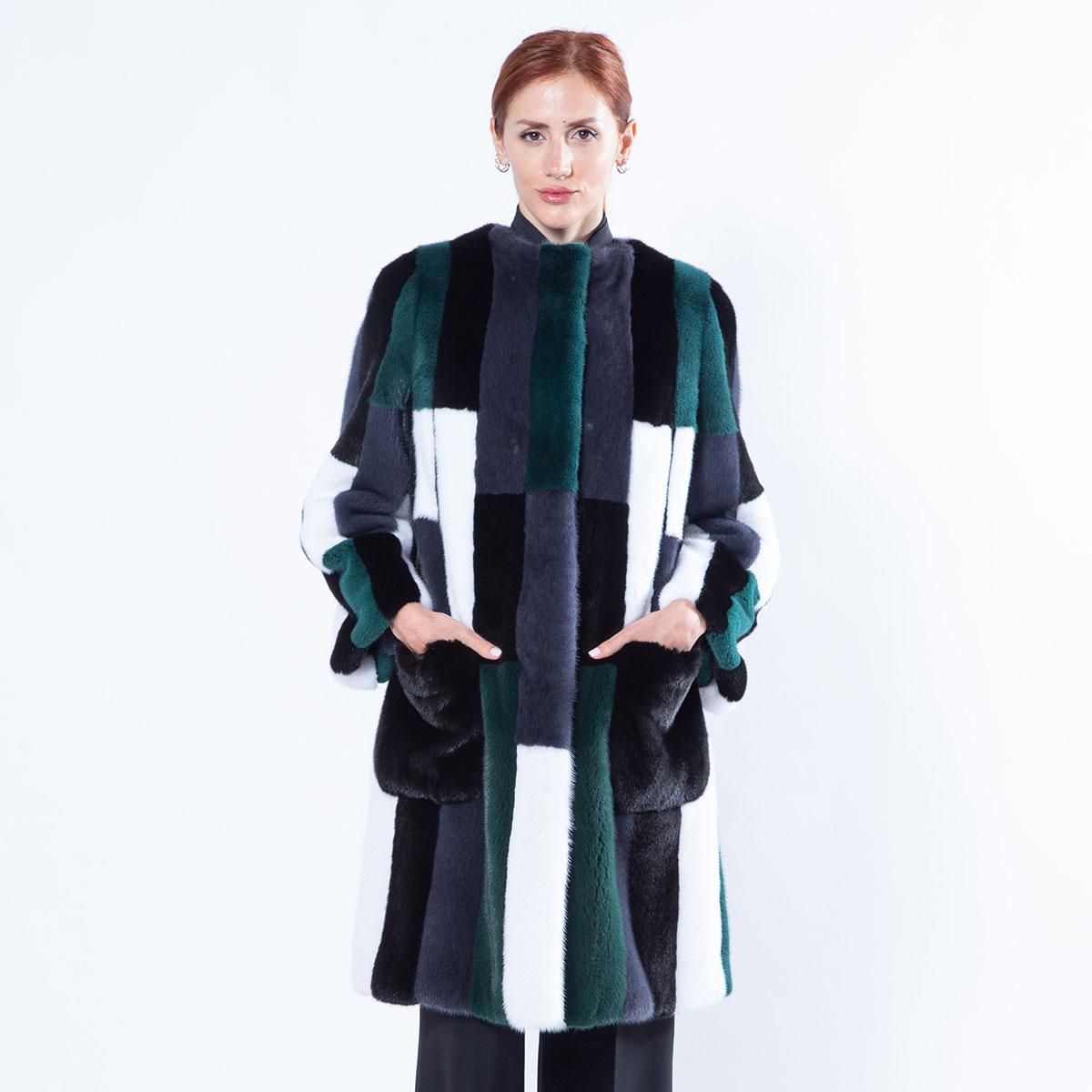 Multi-coloured Mink Jacket with external pockets   Sarigianni Furs
