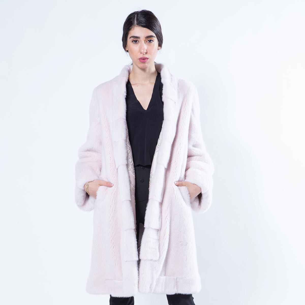 Double-faced Rosa Scuro Mink and Fabric Jacket | Sarigianni Furs
