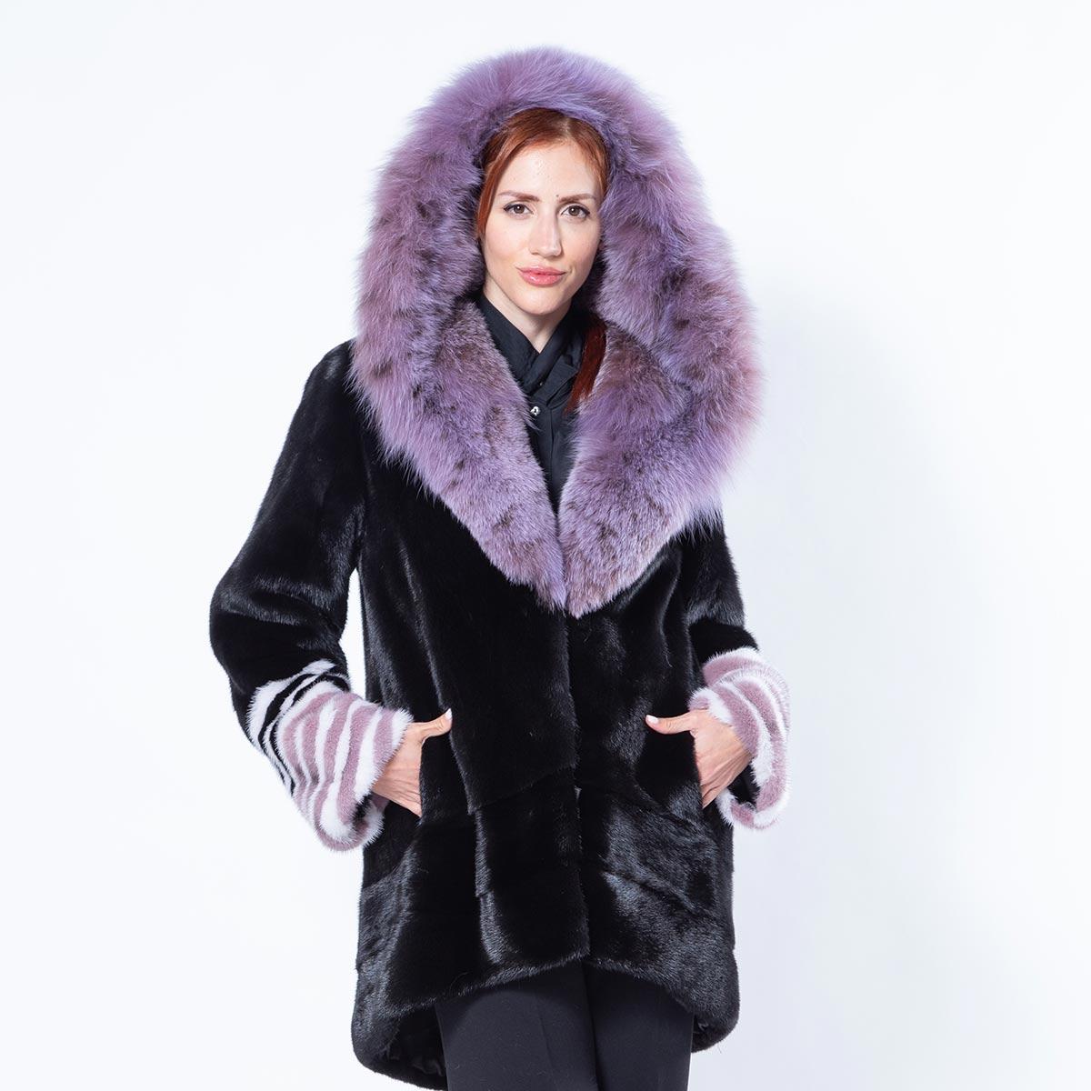 Aurora Black Mink Jacket with Hood   Sarigianni Furs