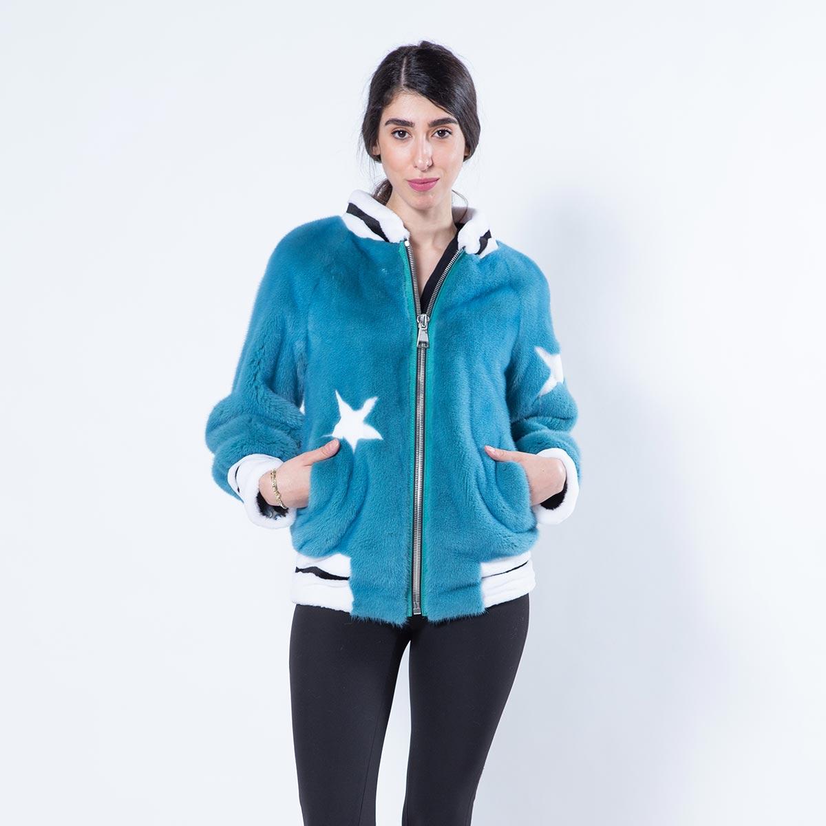 Teal Blue Mink Jacket   Sarigianni Furs