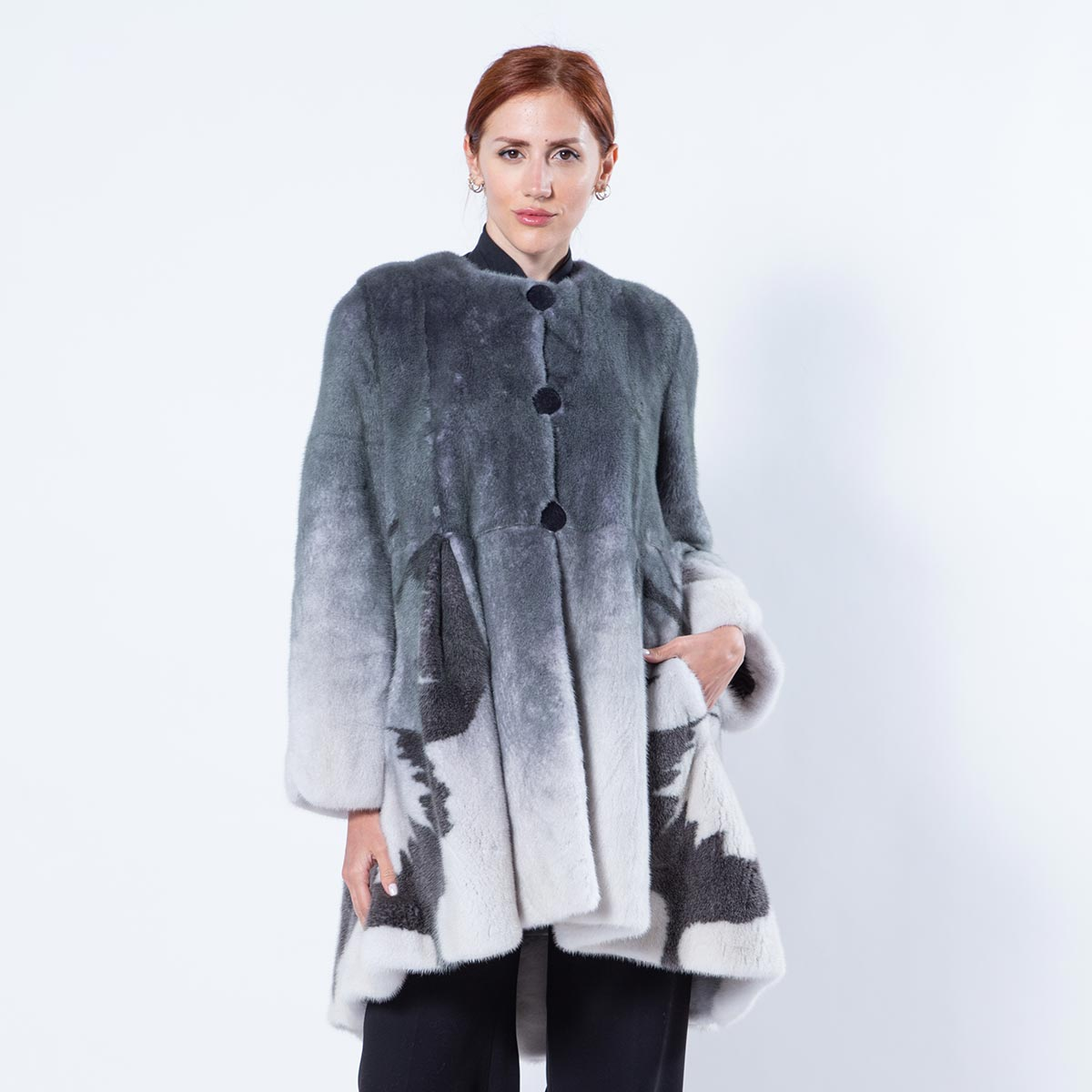 Black Degrade Mink Jacket with Butterfly print | Sarigianni Furs