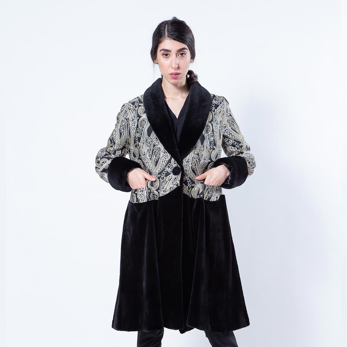 Fabric and Black Sheared Mink Coat   Шуба из ткани и стриженной норки чёрного цвета - Sarigianni Furs