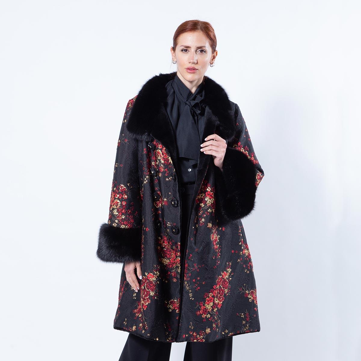 Black Sheared Mink and Fabric Jacket | Sarigianni Furs