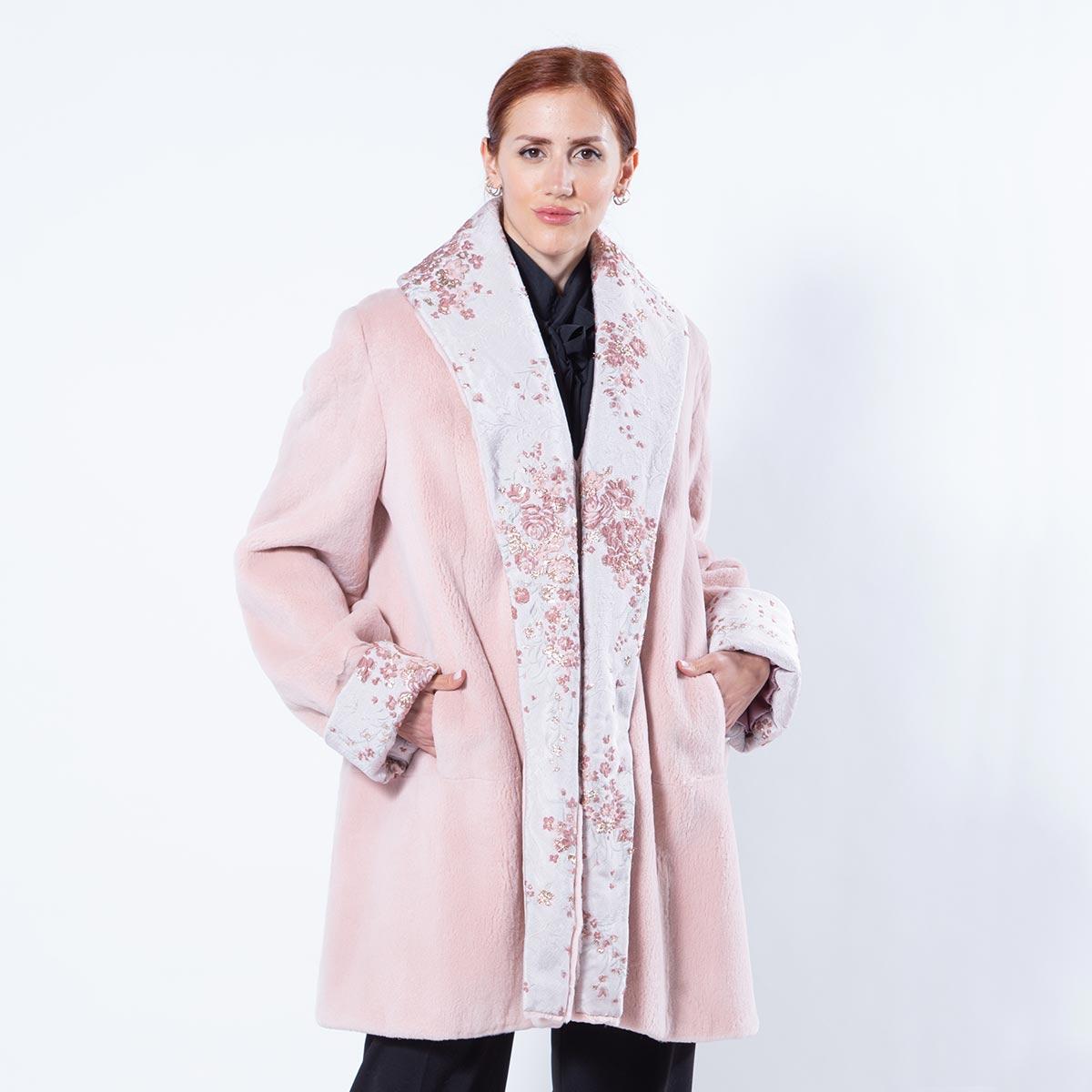 Antique Rose Sheared Mink and Fabric Jacket | Sarigianni Furs