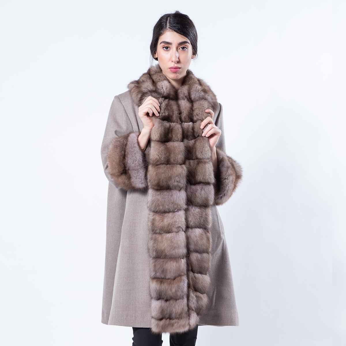 Cashmere Jacket with Beige Scuro Sable Fur-trim | Кашемировое пальто с отделкой из соболя цвета Beige Scuro - Sarigianni Furs