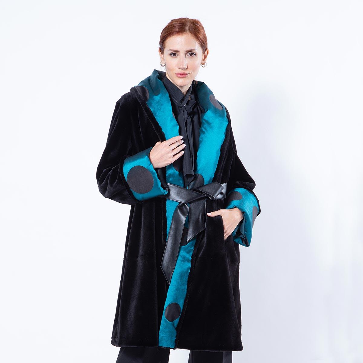 Black Sheared Mink Jacket with shawl collar | Sarigianni Furs
