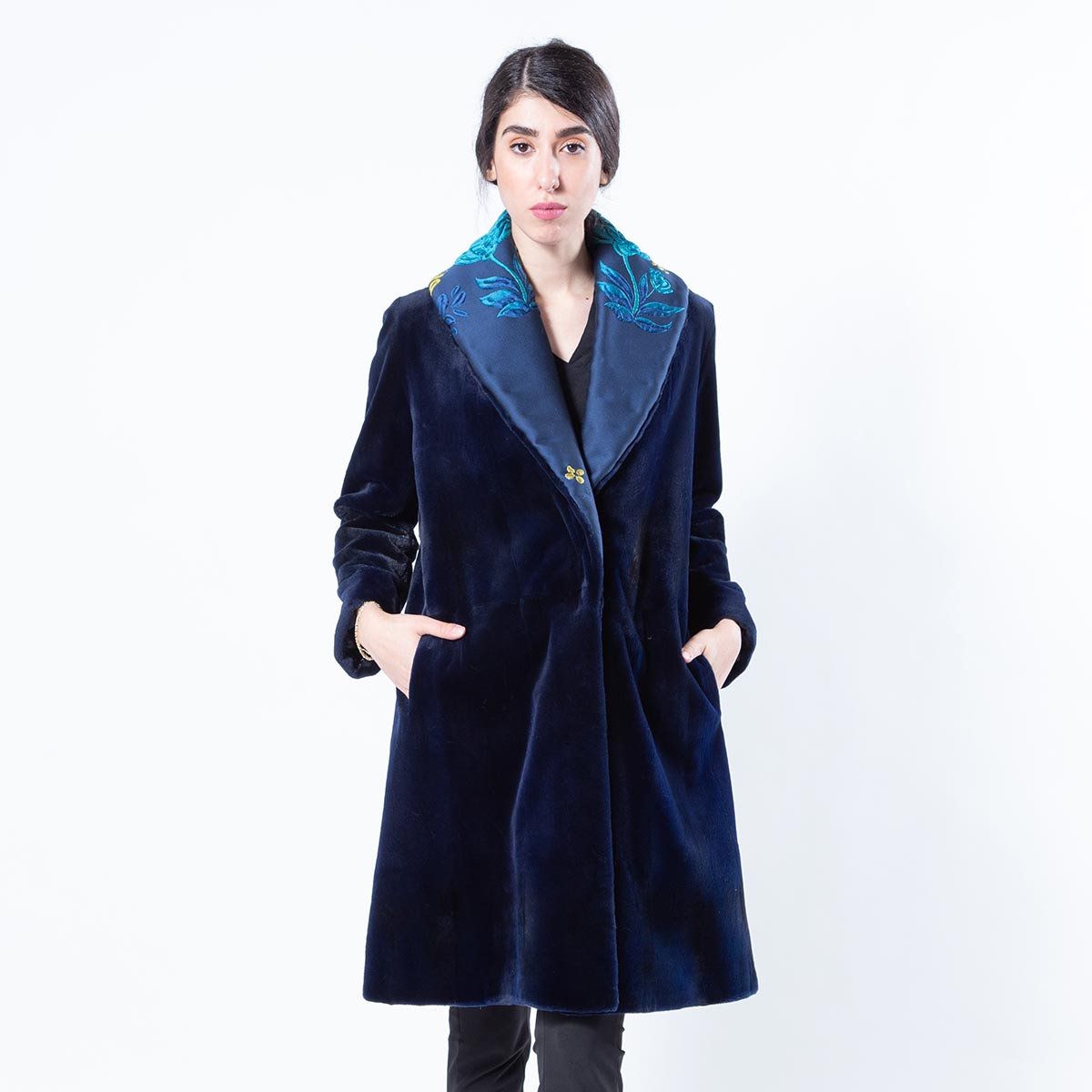 Royal Blue Sheared Mink and Fabric Jacket | Sarigianni Furs