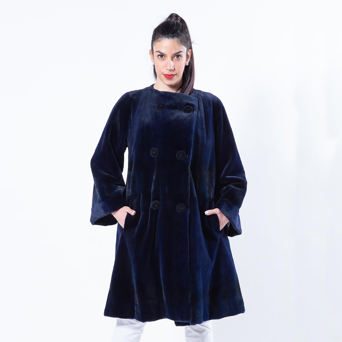 Royal Blue Sheared Mink Jacket | Sarigianni Furs