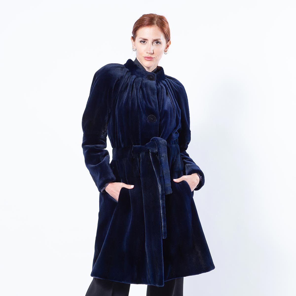 Royal Blue Sheared Mink Coat | Sarigianni Furs
