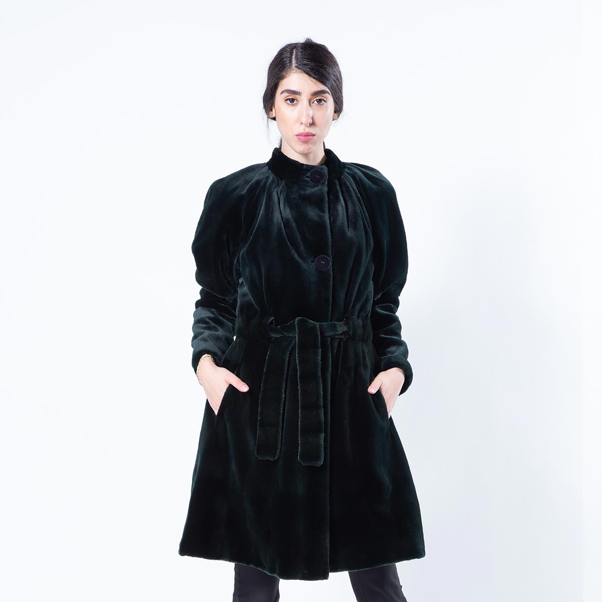 Shock Green Sheared Mink Jacket with Mink Belt | Sarigianni Furs
