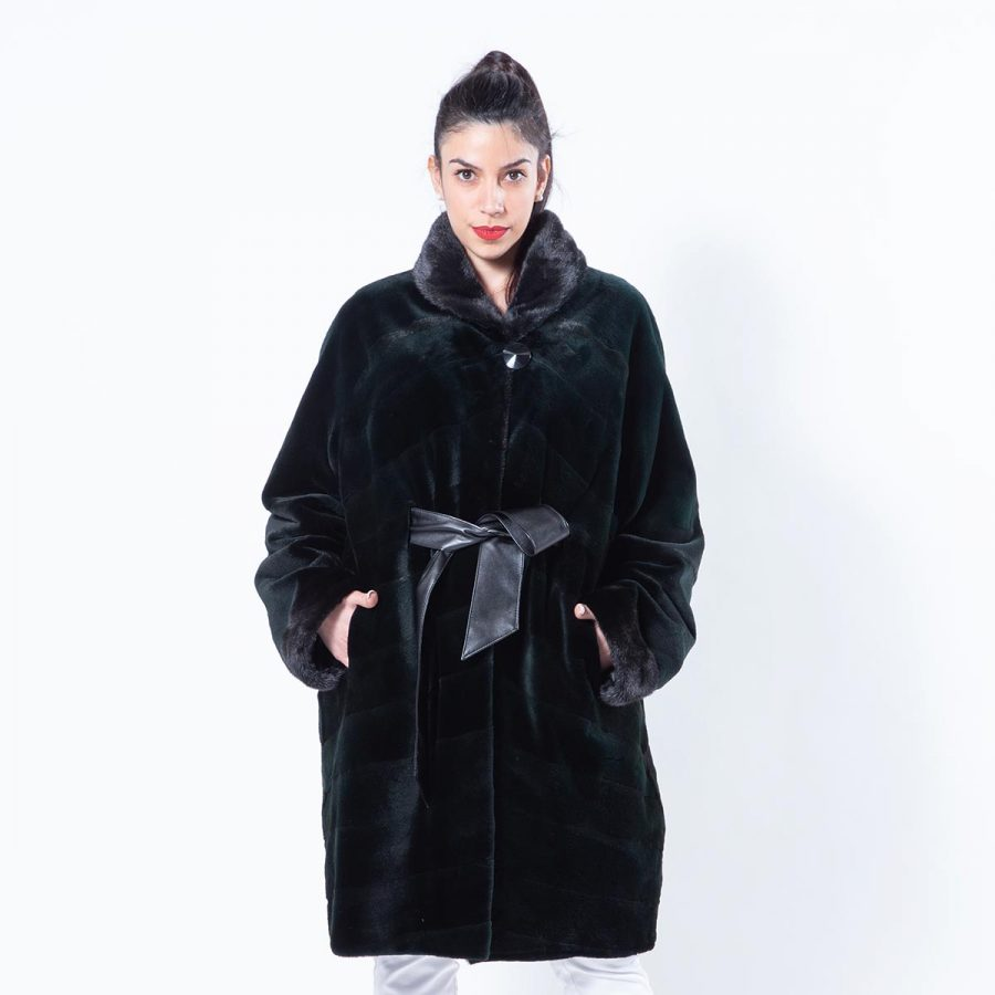 Shock Green Sheared Mink Jacket | Sarigianni Furs