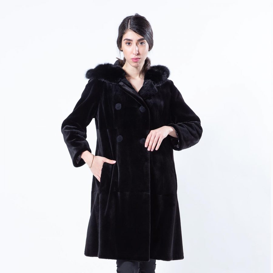 Black Sheared Mink Jacket with Hood | Sarigianni Furs