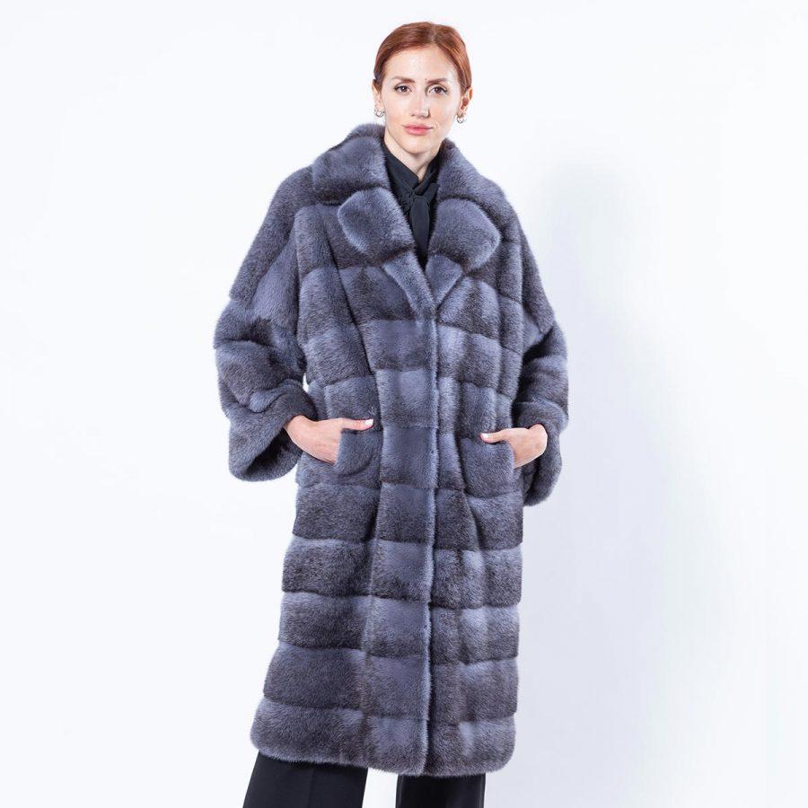 Grey Mink Coat | Шуба из меха серой норки с английским воротником - Sarigianni Furs