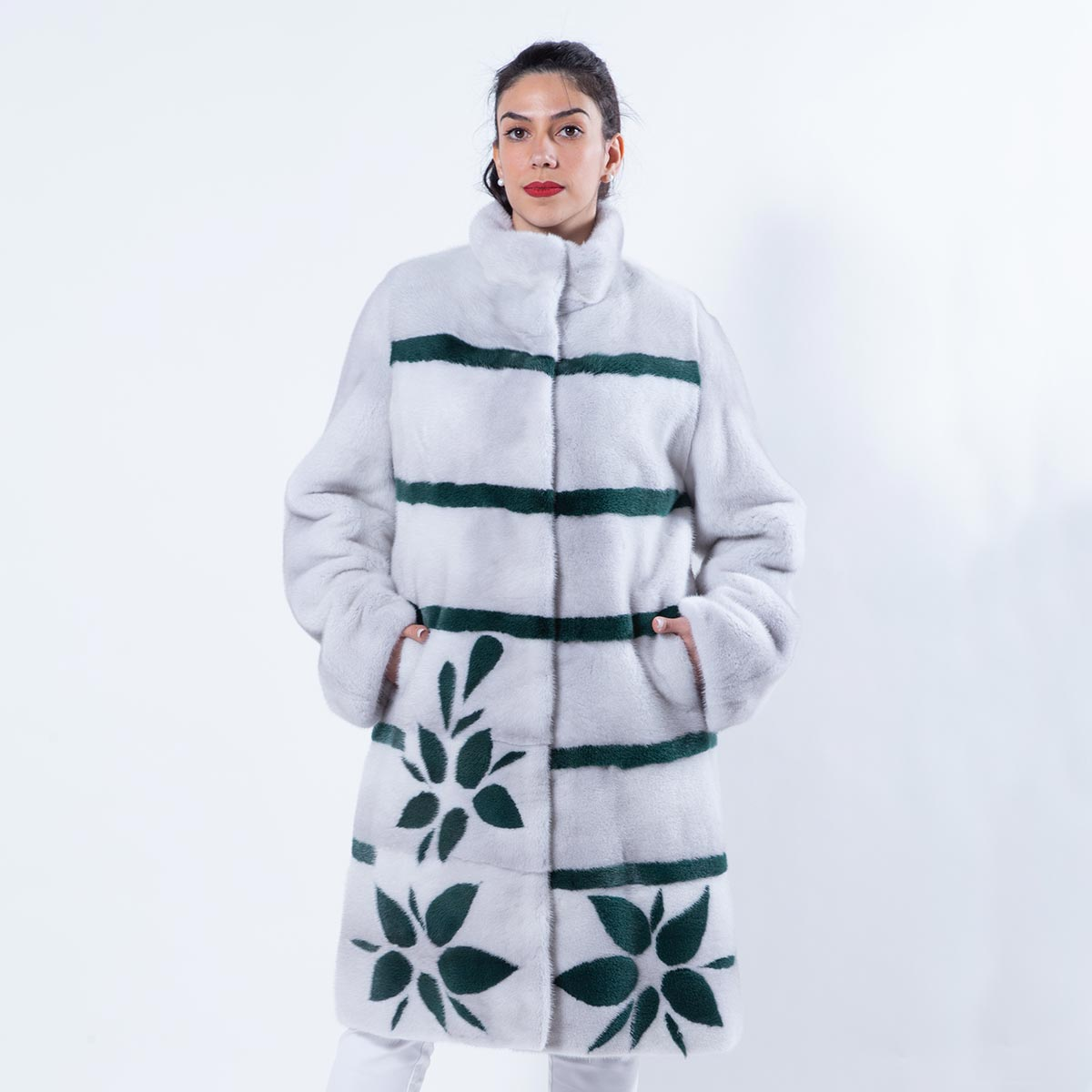 Violet Mink Jacket with Stripes and Flowers | Sarigianni Furs