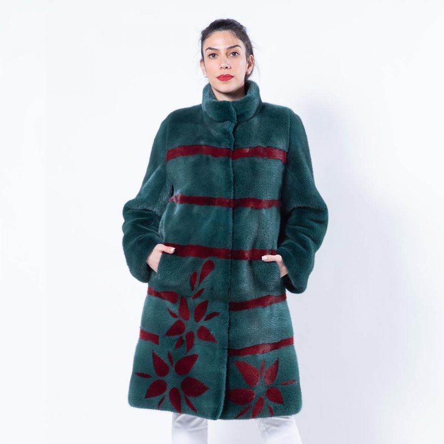 Shock Green Mink Jacket with Stripes and Flowers | Пальто из норки цвета Shock Green с полосками - Sarigianni Furs