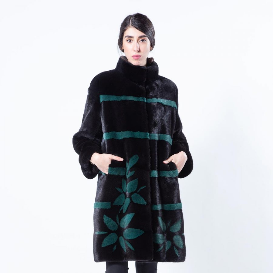 Blackglama Mink Jacket with Stripes and Flowers | Sarigianni Furs