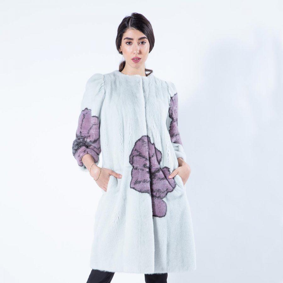 Verde Acqua Scuro Mink Coat with chanel collar | Sarigianni Furs
