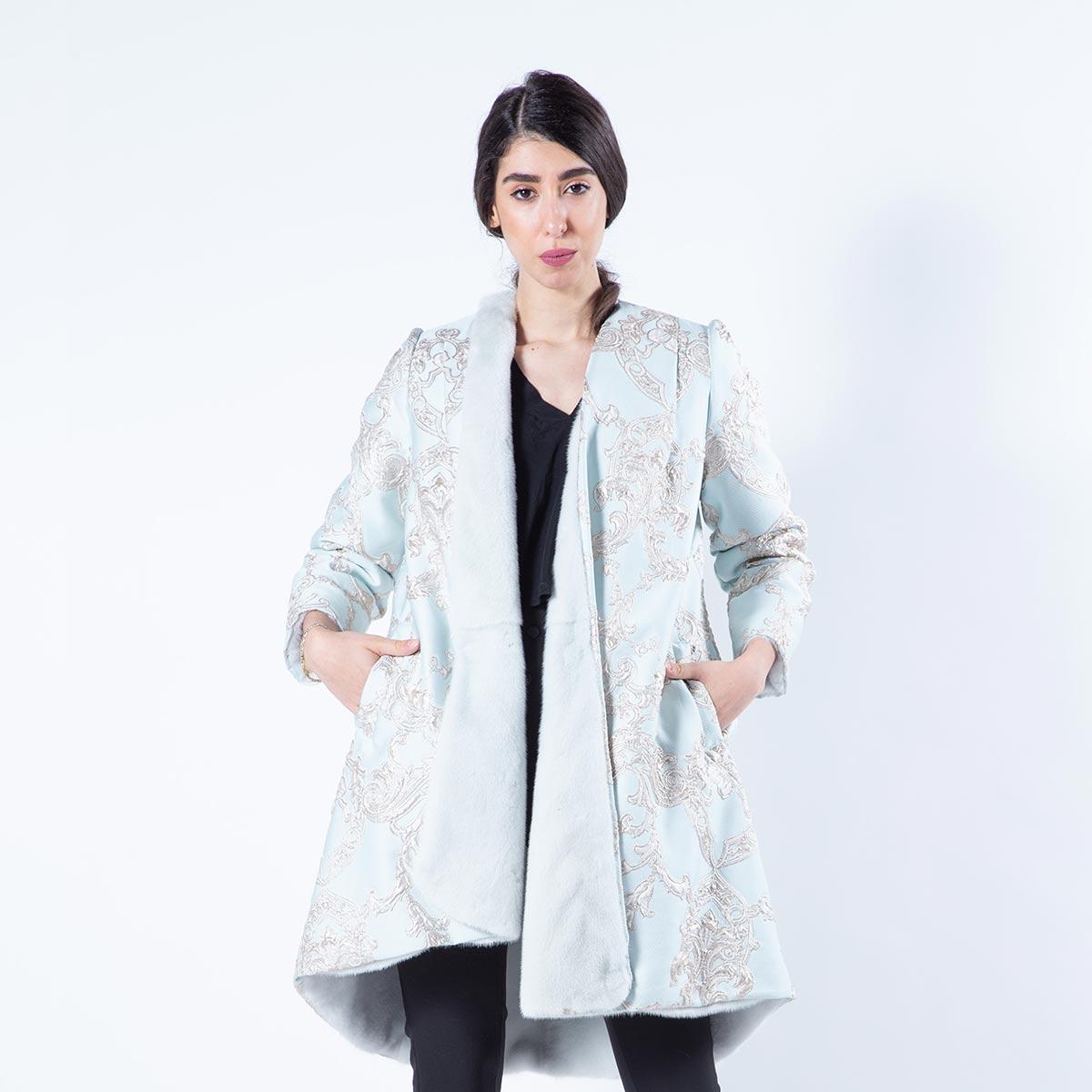 Verde Acqua Mink Fur and Fabric Coat | Шуба из норки цвета Verde Acqua и ткани - Sarigianni Furs