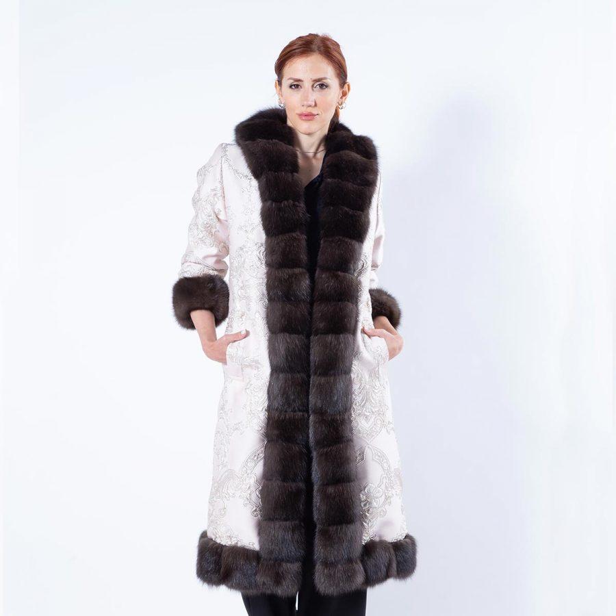 Dark Sable Fur and Fabric Coat - Sarigianni Furs