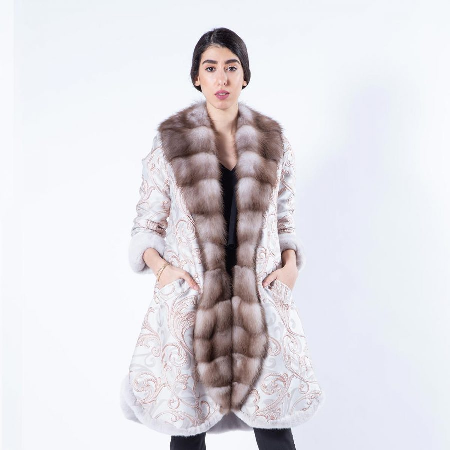 Rosa Mink and Fabric Coat - Sarigianni Furs