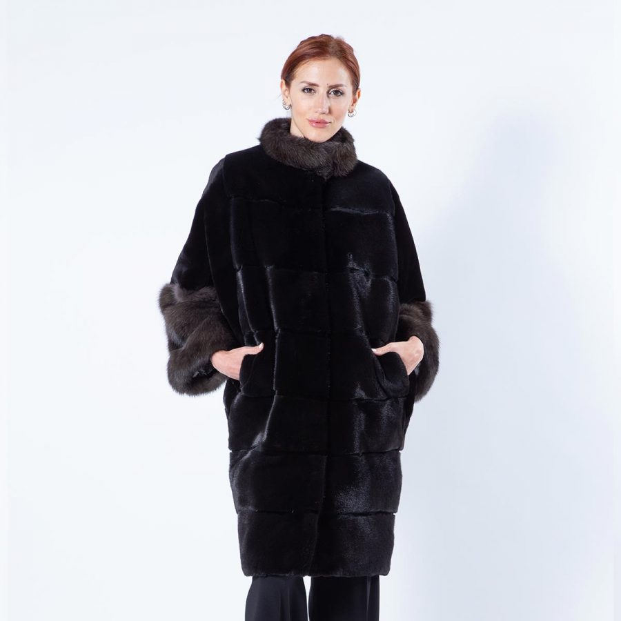 Esmeralda Blackglama Mink Jacket with Sable Cuffs | Пальто Эсмеральда из меха норки Blackglama с манжетами - Sarigianni Furs