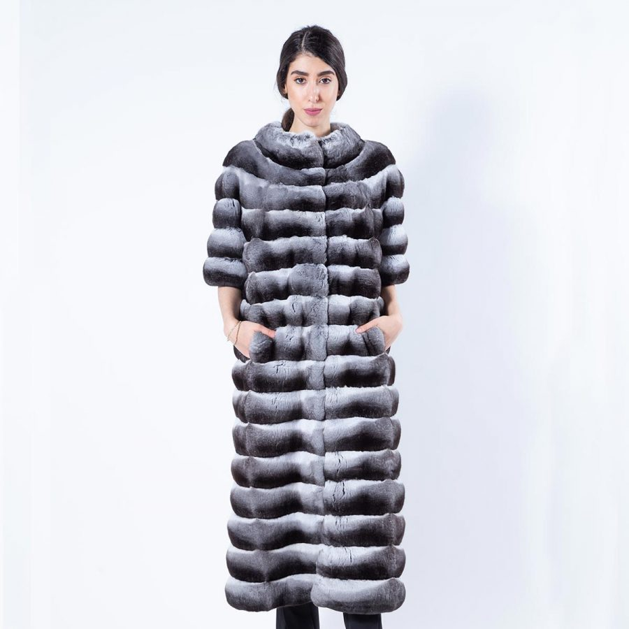 Chinchilla Fur Coat with short Sleeves | Sarigianni Furs