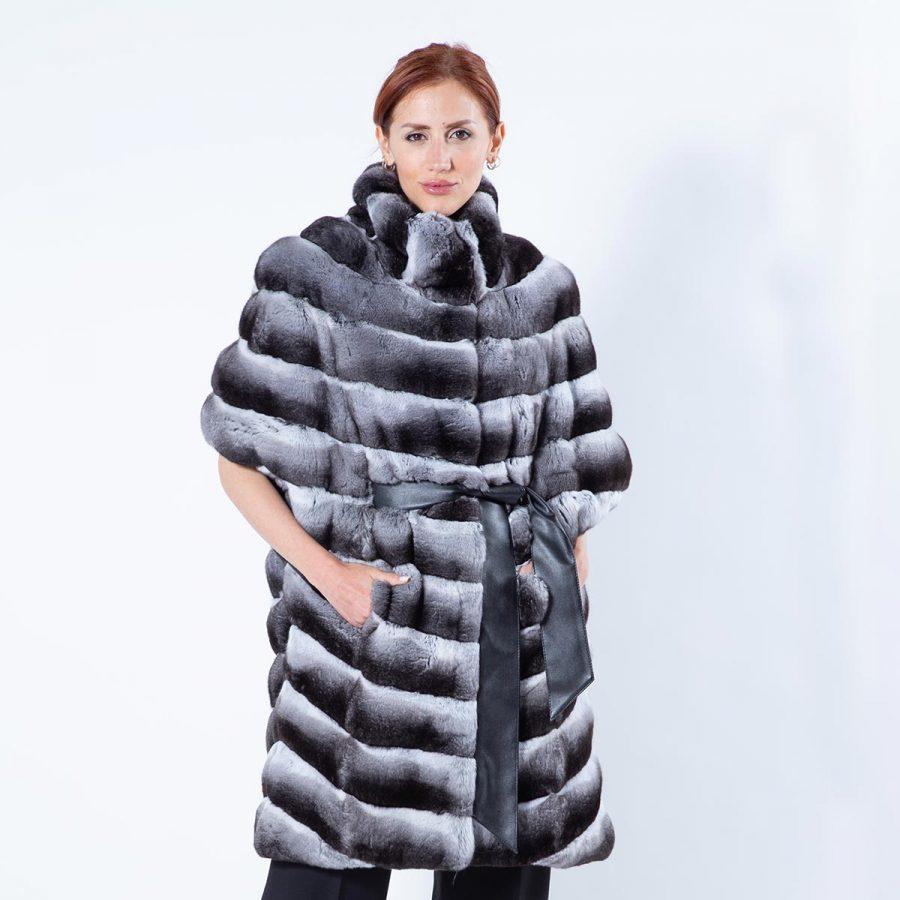 Chinchilla Fur Cape | Кейп из меха шиншиллы с короткими рукавами - Sarigianni Furs