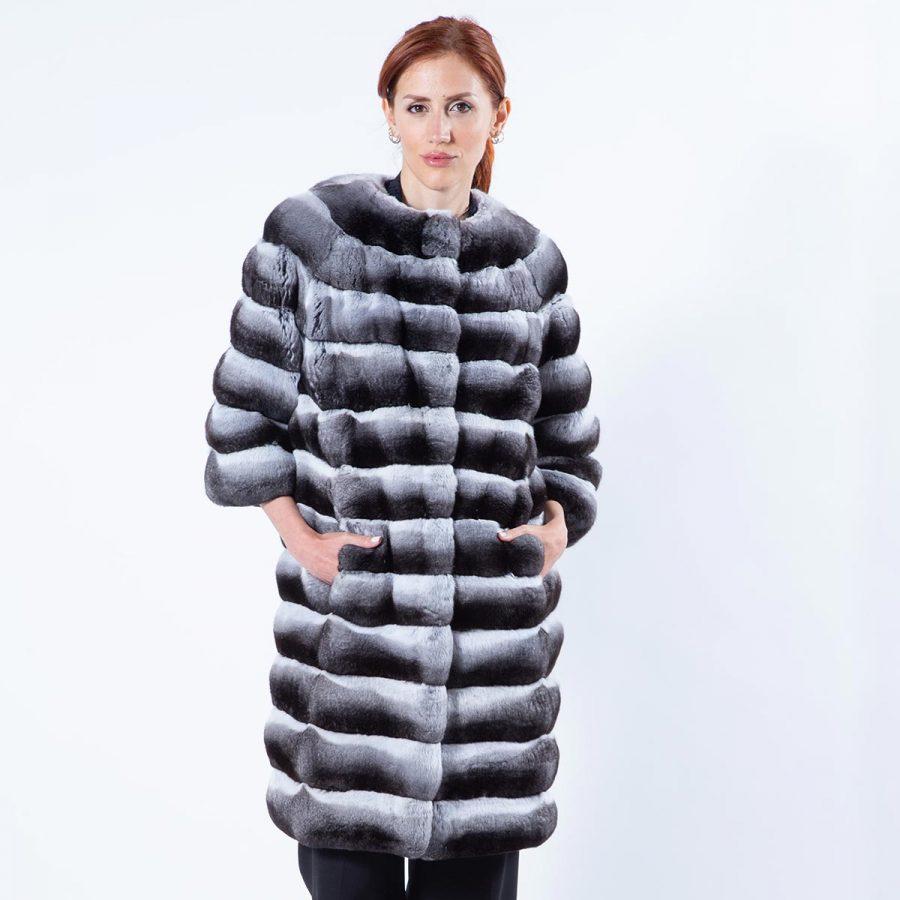 Chinchilla Fur Jacket with 3/4 sleeves | Пальто из меха шиншиллы с рукавами 3/4 - Sarigianni Furs