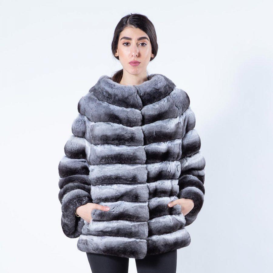 Chinchilla Fur Jacket with 7/8 sleeves | Пальто из меха шиншиллы с рукавами 7/8 - Sarigianni Furs