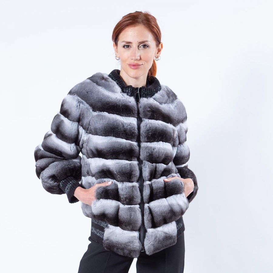 Chinchilla Jacket with Knit trim | Пальто из меха шиншиллы с отделкой из трикотажа - Sarigianni Furs