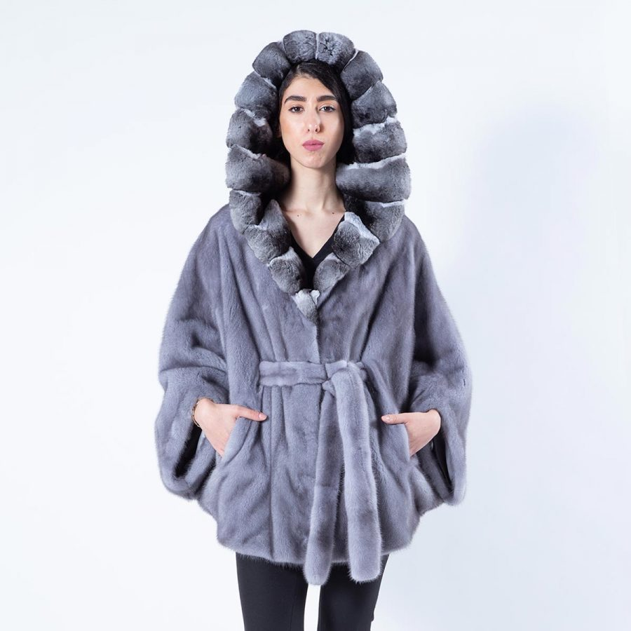 Gabriela Blue Iris Mink Cape with Hood | Кейп Gabriela из меха норки цвета Blue Iris - Sarigianni Furs