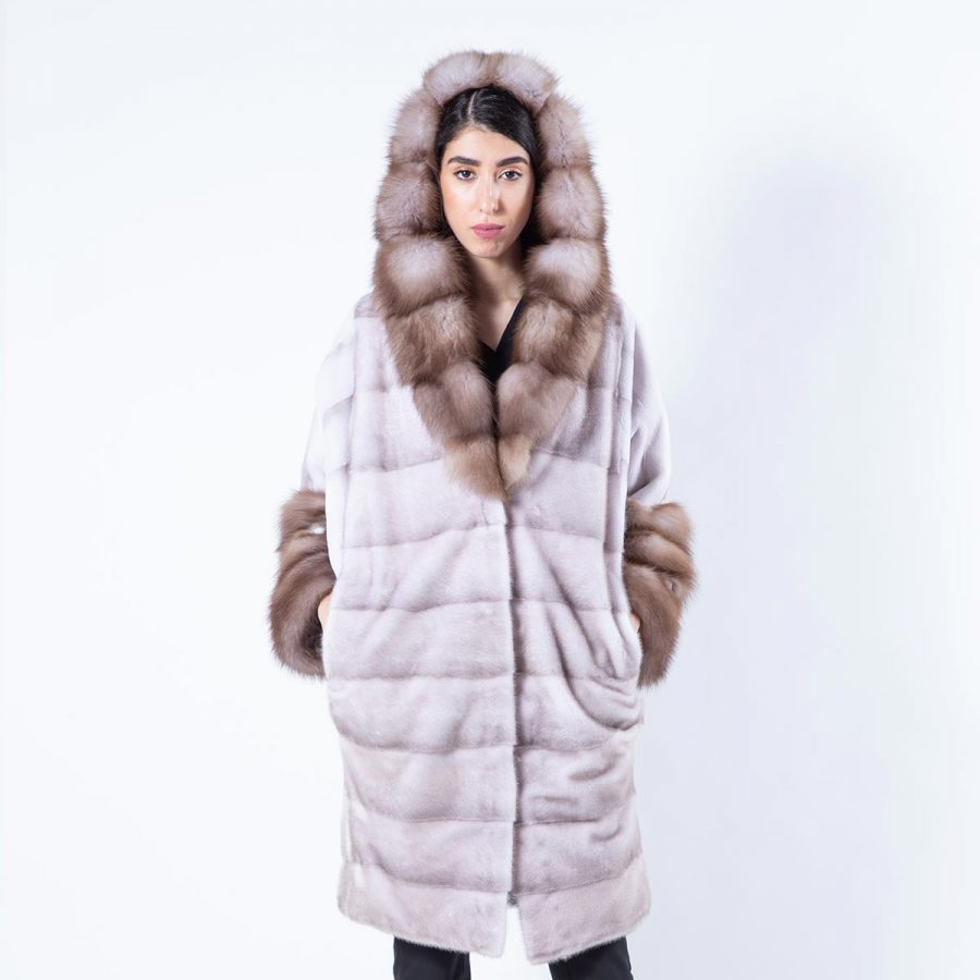 Esmeralda Ice Fume Mink Jacket with hood | Пальто Эсмеральда из норки цвета Ice Fume - Sarigianni Furs
