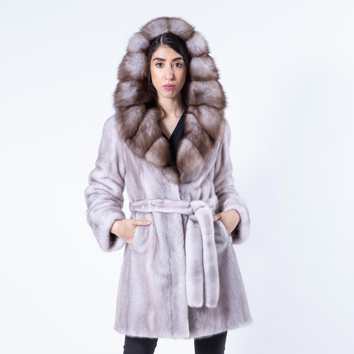 Aurora Ice Fume Mink Jacket with Marten Hood | Пальто Аврора из норки цвета Ice Fume с капюшоном - Sarigianni Furs
