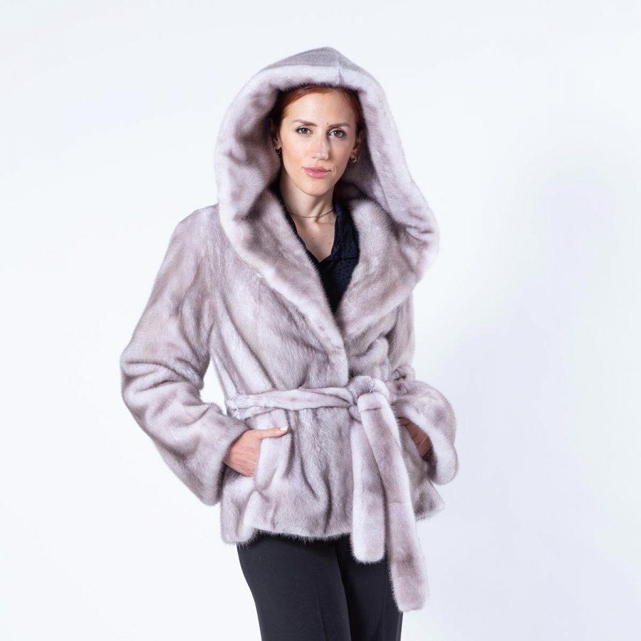 Aurora Ice Fume Mink Jacket with Hood | Sarigianni Furs