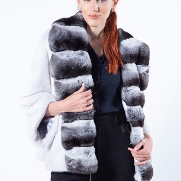 Violet Mink Jacket with Chinchilla front | Sarigianni Furs