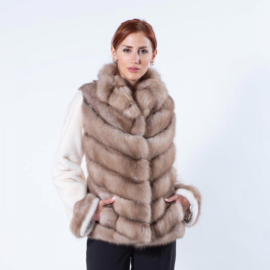 Palomino Mink and Sable Fur Jacket | Пальто из меха норки цвета Palomino и соболя - Sarigianni Furs
