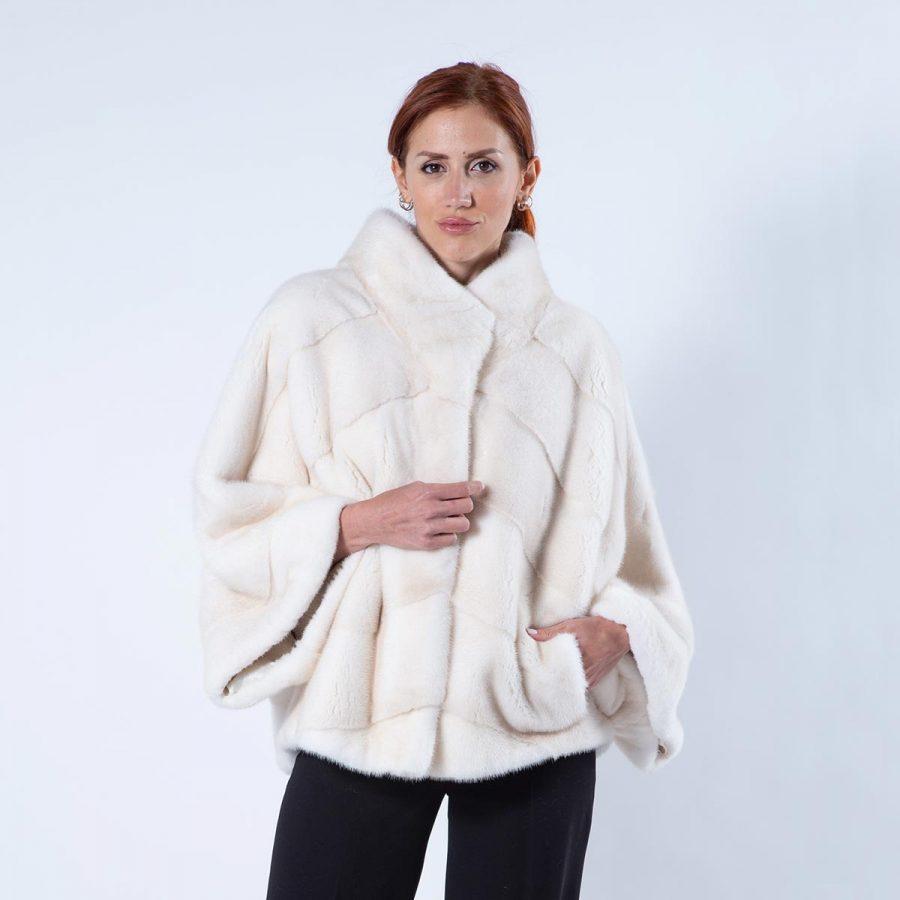 Pearl Mink Fur Cape | Кейп из норки цвета «жемчуг» с воротником - Sarigianni Furs