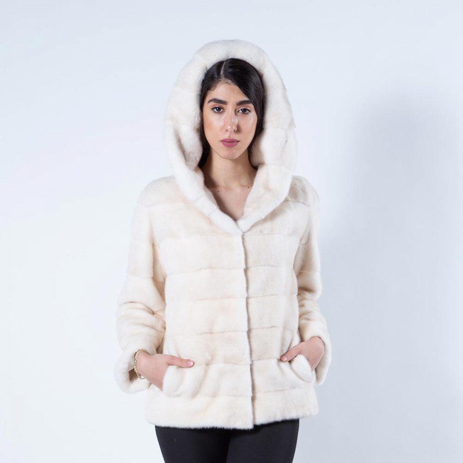 Pearl Mink Jacket with hood | Пальто из норки цвета «жемчуг» с капюшоном - Sarigianni Furs