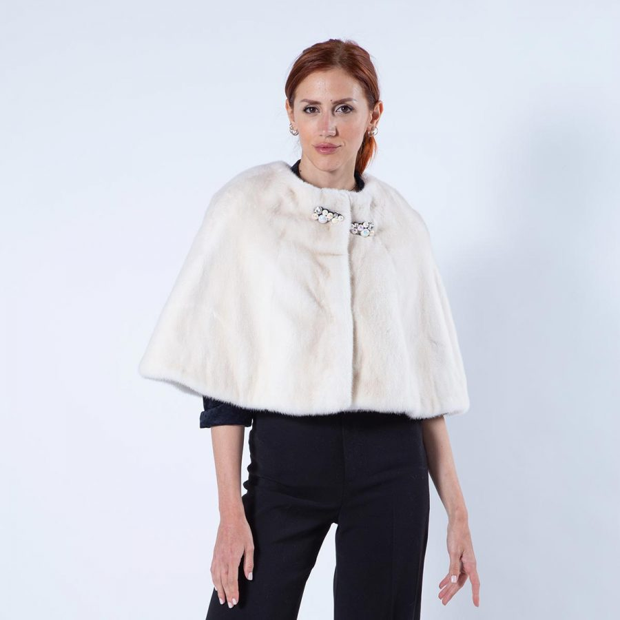 Pearl Mink Fur Cape with chanel collar | Sarigianni Furs