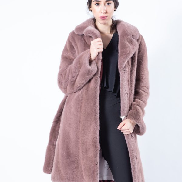 Antique Rose Scuro Mink Jacket with english collar | Sarigianni Furs
