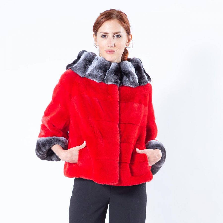 Cherry Mink Fur Jacket with short sleeves | Пальто из меха норки цвета Cherry - Sarigianni Furs